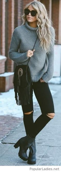 Black pants, boots and bag with grey sweater