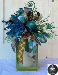 Christmas lantern swag peacock swag centerpiece