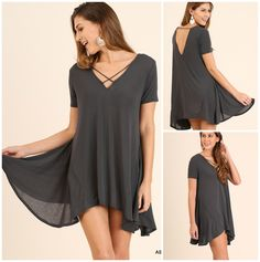 Relax all day Fit A-Line Flowy Tunic with Neckline detail - ASH