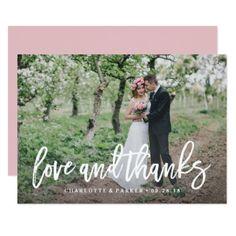 Brushed Wedding Thank You Photo Card - love cards couple card ideas diy cyo