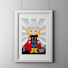 set of 8 actual prints Superhero wall art by AmysDesignShoppe