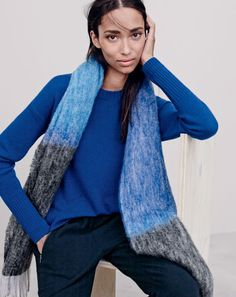 J.Crew women's high-low sweater and brushed colorblock scarf. To preorder call 800 261 7422 or email erica@jcrew.com.