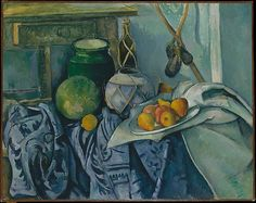 Paul Cézanne (French, 1839–1906). Still Life with a Ginger Jar and Eggplants, 1893–94. The Metropolitan Museum of Art, New York. Bequest of Stephen C. Clark, 1960 (61.101.4) | For this commanding still life, with its richly orchestrated play of overlapping shapes, patterns, colors, and textures, Cézanne relied on a stock of familiar objects.