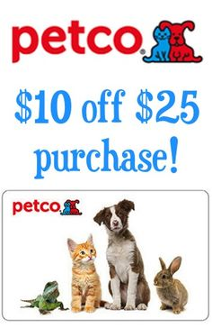 Petco: $10 off your $25 purchase!  {score a deal on toys, treats, or accessories for your dogs, cats, birds, and little friends!}