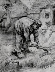 Peasant, Chopping by Vincent van Gogh Medium: chalk on paper