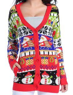e382abc5 Women Christmas sweater, V28 Girls ladies Ugly Fun Long Knit Sweater  Cardigan at Amazon Women's