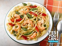Pasta Primavera with Shrimp - A healthy option for your Yes You Can! Diet Plan lunch