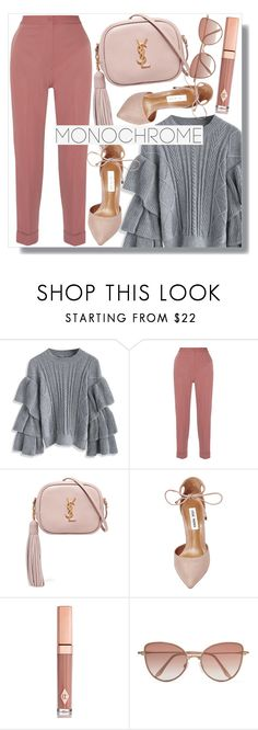 """""""lovely monochrome"""" by monykhaled ❤ liked on Polyvore featuring Chicwish, Bottega Veneta, Yves Saint Laurent, Steve Madden, Charlotte Tilbury and Cutler and Gross"""