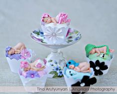 Cupcakes Take The Cake: Edible baby fondant cupcake toppers for a newborn and family photography studio