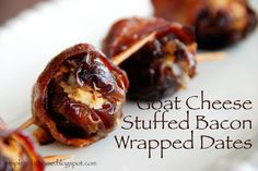Simple Girl: Bacon Wrapped Dates with Goat Cheese. Added some balsamic glaze and it was yummy! Bacon Wrapped Appetizers, Bacon Wrapped Dates, Bacon Dates, Goat Cheese Recipes, I Love Food, Simple Girl, Appetizer Recipes, Yummy Appetizers, Cooking Recipes