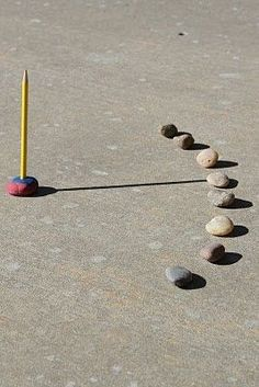 DIY sundial for when we are teaching Ancient Egypt. Ancient Egyptians created sundials to tell time. Place a pencil upright in a ball of clay. Have a student go out every hour to place a stone where the end of the pencil is. Stones can be numbered to show what the hour is. At the end of the day look at the sundial your class has created.