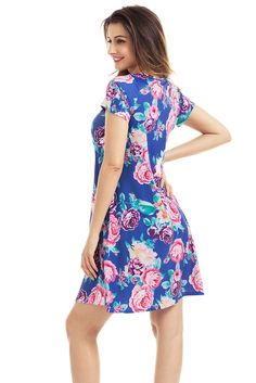 Blue Pocket Design V Neck Summer Floral Shirt Dress MB220016-4 – ModeShe.com