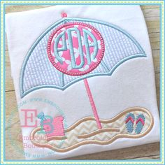 monogram beach umbrella applique design to be used with machine embroidery Embroidery Boutique, Baby Embroidery, Shirt Embroidery, Applique Embroidery Designs, Machine Embroidery Applique, Learn Embroidery, Applique Ideas, Baby Girl Embroidery Ideas, Advanced Embroidery
