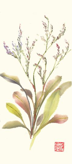 Original Chinese Brush Watercolor Painting of Marshland Sea Lavender