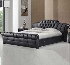 Veronica Chesterfield Style King Bed In Black Bonded Leather is part of Room Decor Cama Black - Veronica Chesterfield Style Bed In Black Bonded Leather look elegant in your bedroom Finish Black Bonded Leather Features Modern Bedroom Furniture, Bed Furniture, Leather Furniture, Furniture Design, Leather King Size Bed, Leather Sofa Bed, Interior Decorating Styles, New Interior Design, Easy Home Decor