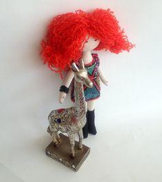 Leo  fabric doll textile doll rag doll  handmade by PoppenAtelier