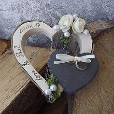 Ringkissen Ringhalter Holzherz kleines Schieferherz mit Beschriftung Namen Datum