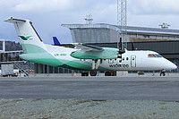 Widerøe De Havilland Canada DHC-8-103 Dash 8 LN-WIU aircraft, parked at Norway Trondheim Vaernes International Airport. 03/05/2014.
