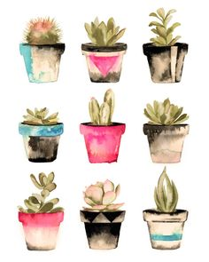 Succulent Watercolor Print 8x10 by LovelyByErinMarie on Etsy