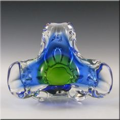 Chribska Czech Blue & Green Glass Bowl by Josef Hospodka - £29.99