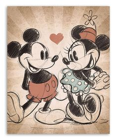 Take a look at this Mickey Mouse & Minnie Mouse Mickey & Minnie Vintage Love Canvas Print today! Mickey Mouse Kunst, Minnie Mouse Drawing, Mickey Mouse Drawings, Disney Drawings, Mickey Drawing, Mickey Mouse Characters, Mickey And Minnie Tattoos, Mickey And Minnie Love, Disney Kunst