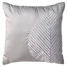 $12.99 Room Essentials Leaf Decorative Pillow - Gray from Target (LOVE, will go perfect with our leaf skeleton art from West Elm!)