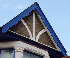"""Képtalálat a következőre: """"ornate gable board scheme"""" Cottage Exterior, Exterior Trim, Cabins And Cottages, Log Cabins, Gable Trim, Porch Canopy, Fascia Board, House Trim, Edwardian House"""