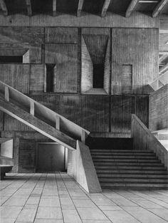 "fuckyeahbrutalism: "" City Hall, Kurashiki, Japan, 1958-60 (Kenzo Tange) """