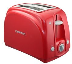 Toaster Chefman  2-Slice Red Toaster: Attractively housed in a Red sleek casing, this Chefman two-slice toaster features extra-wide slots that make it easy to