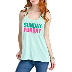 Super cute mint colored tank top! Who loves brunch on Sundays?  This is the perfect tank for you!  #SUNDAYFUNDAY  	Super soft and casual graphic print design  	65% Poly, 35% Cotton  	Fits true to size  	Free shipping   | Shop this product here: spree.to/bqm8 | Shop all of our products at http://spreesy.com/DesignConceptsChi    | Repin to your own inspiration board.
