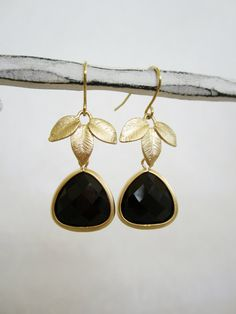 Bridesmaid earrings Bezel set framed Black Onyx and  by Muse411, $30.00