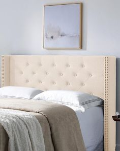 Upholstered Tufted King Headboard Beautiful Bedrooms For Couples, Cal King Headboard, Tufting Buttons, Nailhead Trim, Contemporary Design, The Help, Charcoal, Grey, Furniture