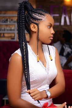Bored of the way you typically wear your braided ponytail? To give you some hair inspiration, we've found 63 of the best styles for Braided Hairstyles For Black Women Cornrows, Box Braids Hairstyles For Black Women, Braids Hairstyles Pictures, Twist Braid Hairstyles, African Braids Hairstyles, Braids For Black Hair, Cornrow Ponytail, Hair Ponytail Styles, Hair Styles