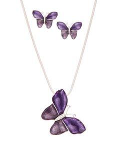 Another great find on #zulily! Purple Czech Crystal & Silvertone Butterfly Necklace & Earrings #zulilyfinds