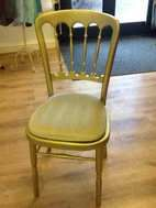 Gold Cheltnham chair.  This one was sold by Rosetone I would imagine made in Europe although could have been make in the far east.    This type of chair is the mainstay of the chair hire in the UK.