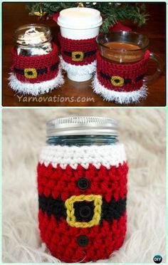 Crochet Santa Mason Jar Cozy Free Pattern - DIY Mason Jar Christmas Gift Wrapping Ideas