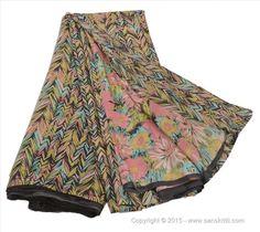 VINTAGE INDIAN SAREE PRINTED FABRIC PURE SILK SARI FLORAL CRAFT 5 YARD MULTI