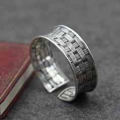 Sterling Silver Wide Braided Cuff Bracelet