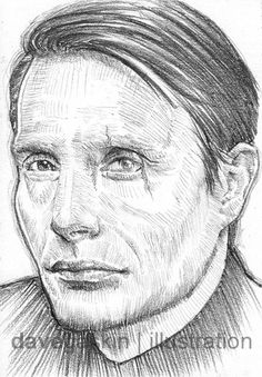 Sketch card of Mads Mikkelsen as Le Chiffre in Casino Royale