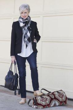 4 Day Road Trip - denim Ann Taylor; silk blouse Banana Republic ; blazer JCrew; shoes Banana Republic ; scarf Talbots; lipstick Hollywood