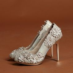 CRYSTALS,RHINESTONES,PEARLS & LACE WEDDING SHOES | bridal shoes wedding shoes lace rhinestone crystal high heeled shoes ...