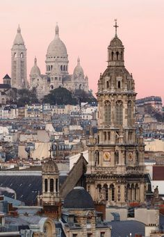 Pink skies in Paris, France