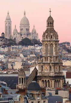 Pink skies in Paris, France