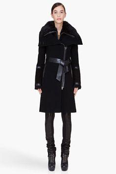 Mackage Black Shearling Trim Isabel-b Coat for Women | SSENSE ($500-5000) - Svpply