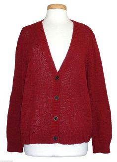 Ralph Lauren Womens Sweater Cardigan V-Neck Top Knit Red Plus Size 2X NEW   108 3a5d996ecbb5
