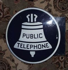 "Large ""Public Telephone"" Sign aka ""Liberty Bell""  Sign ! found on Ruby Lane"