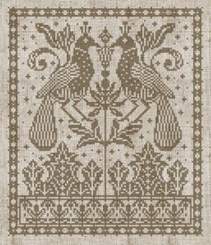 vintage double bird chart. good for cross stitch or filet crochet