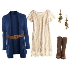 dress, cardigan, and boots....don't know if I would wear it, but its pretty!