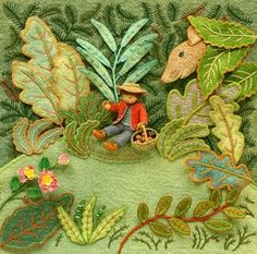 Salley Mavor's brilliant three-dimensional embroidery.  I love how she's embroidered leaves onto green felt at the back, then the 3D leaves on top, to give it a lot of depth.
