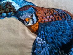 Hand Embroidered Kestrel by EscapeFromNewYork on Etsy